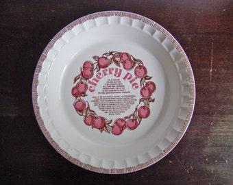vintage Royal China cherry pie recipe ceramic pie plate