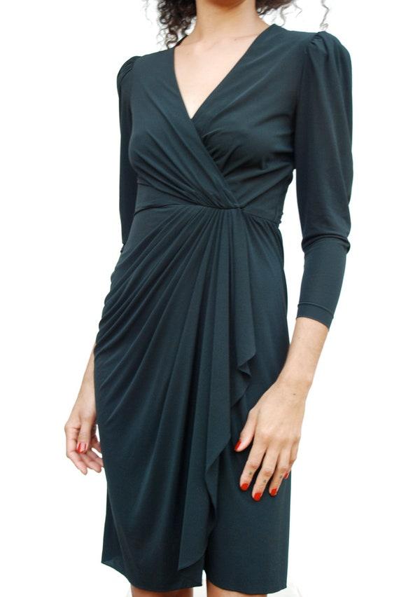 Women's dress, black draped wrap dress, size 2, Rimini, 1970-1980s.