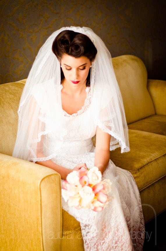 Julia - Lace Trimmed Two Layer Elbow Fingertip Veil