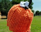Crochet Pattern PDF - Beanie / Hat - Precious Pumpkin Beanie - Infant, Toddler, Child Sizes - Girl & Boy - Autumn / Fall / Halloween