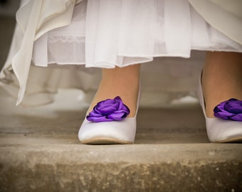 Cadbury Purple Wedding Shoe Clips - made to order
