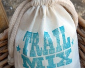 Hand Stamped Trail Mix - 12 Party Favor Bags - Fabric with String Tie