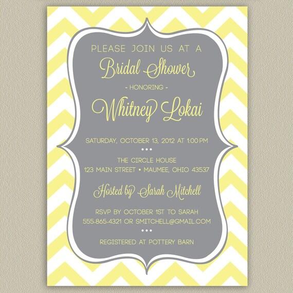 Elegant Chevron Printable Bridal Shower Invitation with Color Options