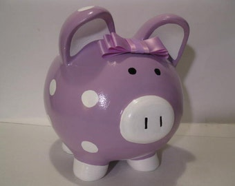 Personalized, Handpainted, Piggy Banks -  MADE TO ORDER - Solid Color w/ Polka Dots