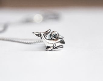 Tiny Whale Necklace- Ocean- 925 Sterling Silver or silver tone Chain- Sea World- Deep Blue Sea - 3D Nautical Charm Jewelry