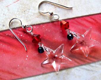 Crystal Star Earrings, Patriotic Earrings, Red White and Blue Earrings, Holiday Earrings, Fourth of July Earrings, July 4th Earrings