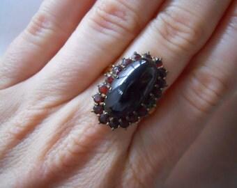 Victorian Giant Garnet Cabachon Bohemian Ring Size 8