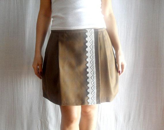 Coffee brown wrap skirt with lace - pleated skirt aline skirt mini skirt womens skirt