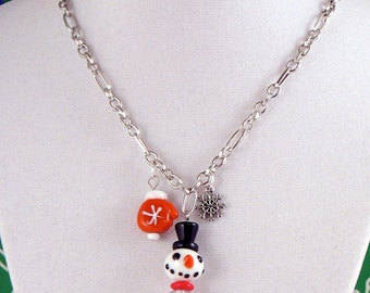 Hand-painted Glass and Crystal Snowman Necklace - Orange Mitten and Snowflake - Holiday - Winter - Gifts Under 25