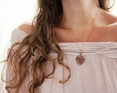 Heart Locket Necklace. Valentine Heart Jewelry -  Romantic Statement Necklace. Mosaic Pendant on Gold Chain