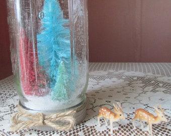 SALE- Rustic Holiday Decor- Mason Jar Snow Globe- Jewel Tones