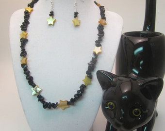 Dark Sky Bright Stars Halloween Necklace and Earrings with Gold Star Beads and Black Stone Chips