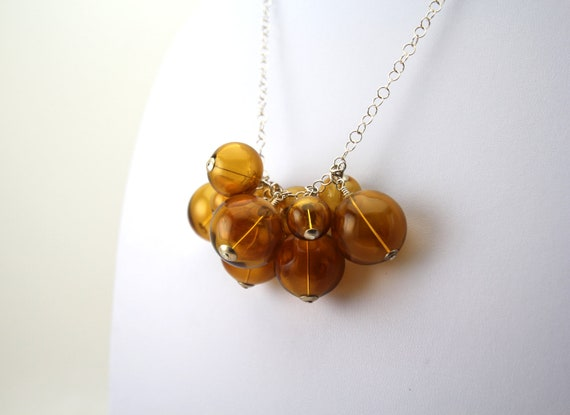 amber blown glass bubble necklace.
