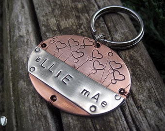 Copper, Nickel Silver Personalized Pet Id Tag, Large Breed Pet Tag, Hand Stamped, Aluminum Backer, Large Tag, Copper Wire