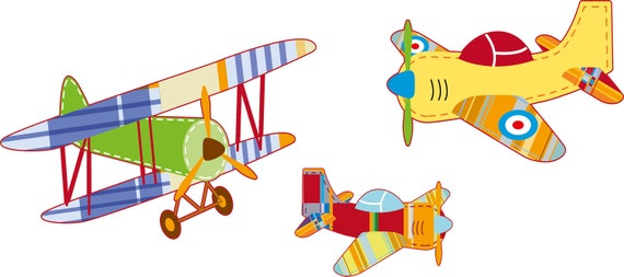 Vintage AirPlane decals - Nursery wall decals - Wall decals - Vinyl decals -  set of 3 Great for boy nursery
