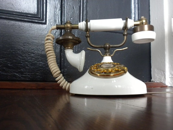 Elegant Empress Rotary Phone In Ivory and Brass
