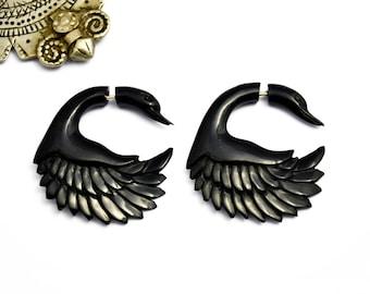 Fake Gauges Earrings Horn Earrings Swan Black Tribal Earrings - FG049 H G1
