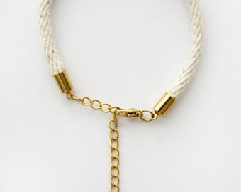 Thin Rope Bracelet - Natural Cotton - Gold Chain - Petite Jewellery