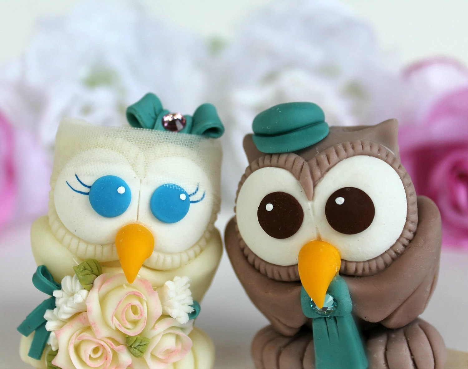 Love Bird Owl Wedding Cake Topper With Banner Personalized