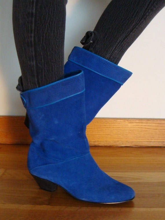 smurf vintage leather pixie boots royal blue suede slouch