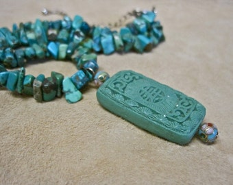 Asian Necklace Carved Turquoise Pendant Choker Cloisonne Beads Turquoise Nuggets Vintage 50s Rough and Refined