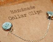 Handmade Collar clips - Tawny owl illustration