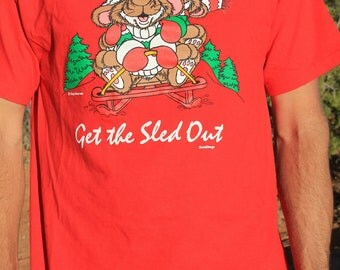 Get the Sled Out - Vintage Funny Christmas Animal T-shirt, Hanes, Medium / Large