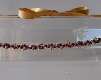 Purple and Gold Flower Halo Headband with Gold Satin Ribbon Ties, for weddings, bridesmaids, parties, festive, special occasions