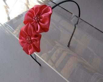 Fuchsia Pink Satin Beaded Flower Black Headband, for weddings, parties, bridesmaid, special occasions