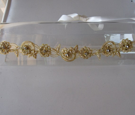 Gold Beaded Crystal Flower Halo Headband with Ivory Satin Ribbon Ties, for weddings, bridesmaid, parties, special occasions