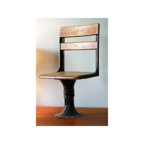 Antique Wooden Pedestal School Chair