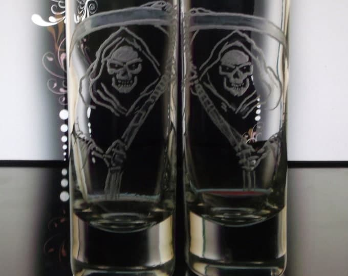hand engraved shot glass set of two  Grim reapers Shot glasses Barware unique custom made shooters Skulls