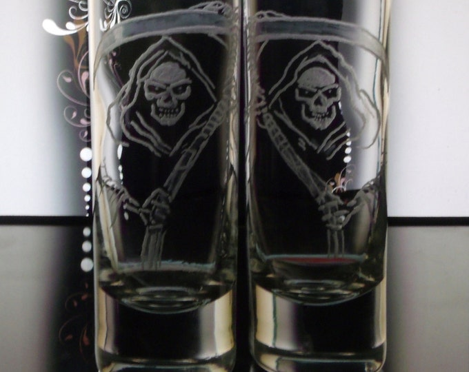 shot glass grim reaper set of 2 glassware barware engraved dining and entertaining gift ideas wine and spirits