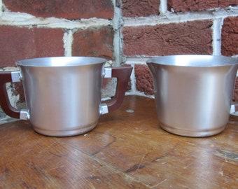 Vintage Set Creamer and Sugar Kensington Aluminum and Wood Mod Mid Century Retro Kitchenware