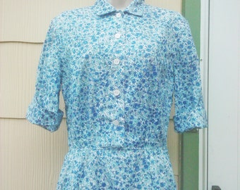 Vintage 1950s Blue Floral Print Cotton Dress NOS New Old Stock  Small Rockabilly  VLV S/M