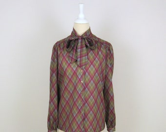 On Sale Vintage 1970s Secretary Ascot Blouse in Colorful Plaid - Medium Large by D'allaird's