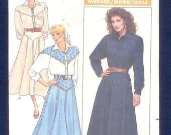 Vintage 1987 Butterick 5766 Western ROCKABILLY, Skirt, and Blouse, Sizes 6, 8, 10, UNCUT