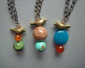 bird necklace--bird pendant, brass bird, stone, sandstone, jasper, turquoise, amber, copper, earthy, cute, nature, quirky