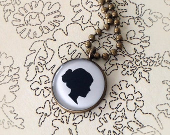 Mother's Day Large Custom Child or Pet Silhouette Antiqued Brass Necklace for Mother or Grandmother