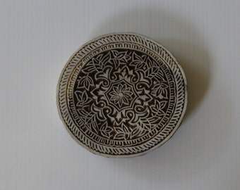 Large Round Floral Stamp - Indian Style - Hand Carved Wood Block Printing Stamp - Mandala