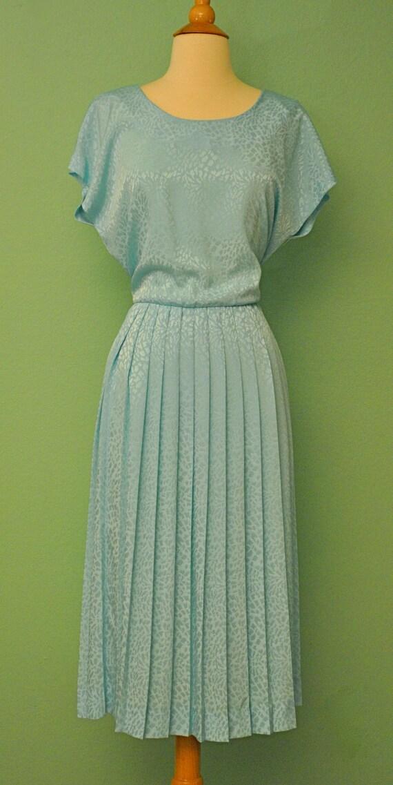 Vintage 80s Does 50s Light Blue Dress Circle Skirt Shirt