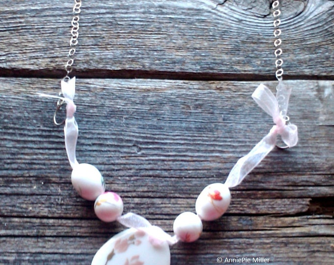 Pretty Porcelain, organza ribbon & sterling silver chain