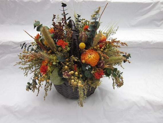 Thanksgiving Centerpiece Fall Dried Flower Basket Arrangement