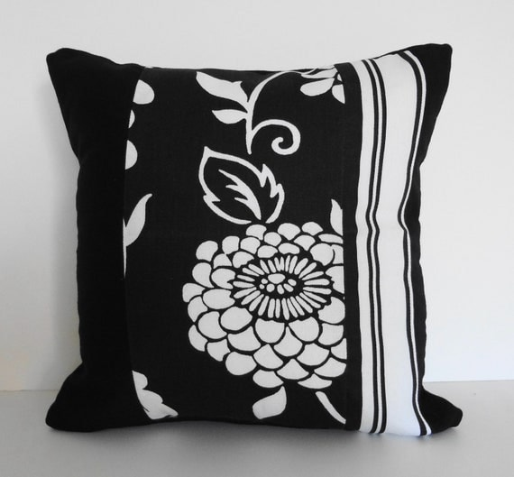 Black And Ivory Throw Pillows : Black Decorative Pillow Cover Ebony and Ivory by pillows4fun