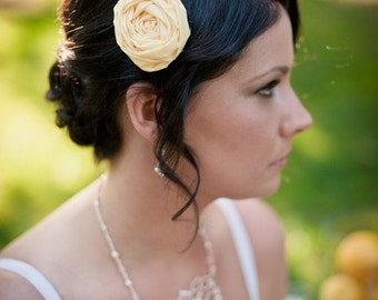 Bridal soft yellow rosette hair clip with rustic burlap leaves. Bridesmaids set available.