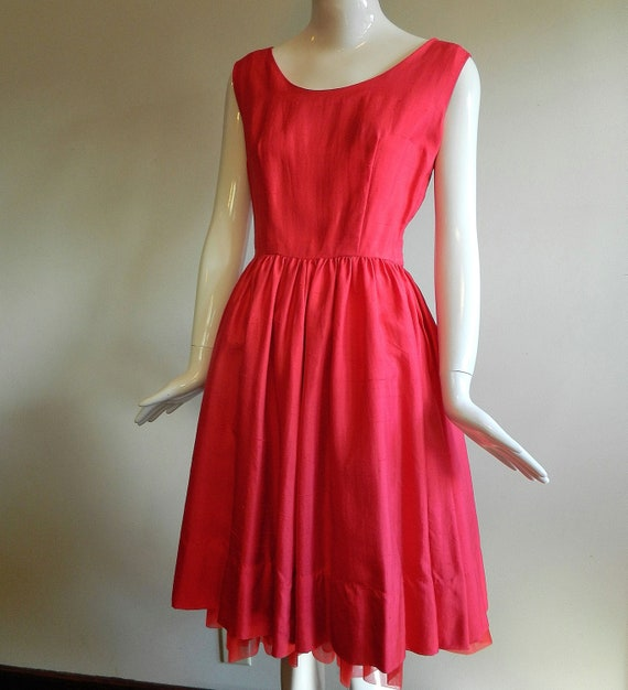 50s soft red silk cocktail party dress . holiday . 60s madmen