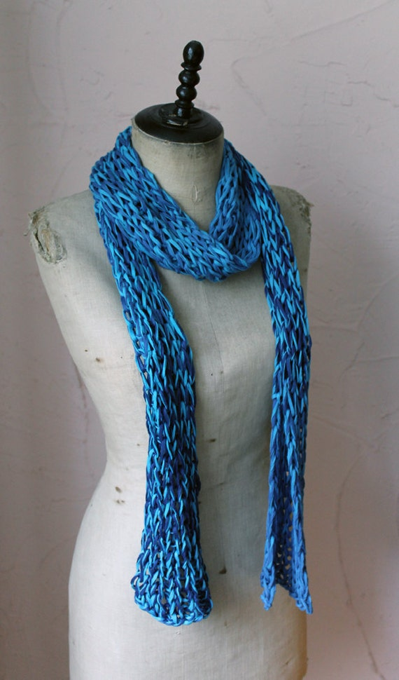 Knitting Pattern Ribbon Yarn Scarf : Items similar to Knitted blue scarf - Ribbon yarn - Jeans, Turqoise on Etsy