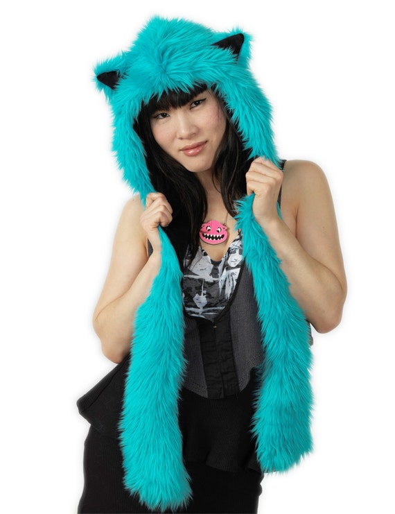 Sgt. Swagger - Teal Cat Faux Fur Hoodie