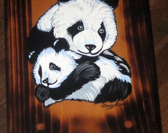 Hand painted step stool- pandas