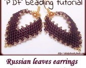 Russian leaf earrings with pearl Beading Pattern PDF tutorial peyote stitch technique